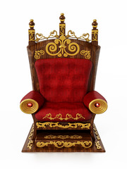 Luxurious throne isolated on white background. 3D illustration