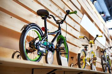 Childrens bicycles in sport shop
