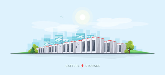 Vector illustration of large rechargeable lithium-ion battery energy storage stationary for renewable electric power stations. Backup power energy storage cloud server system.