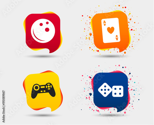 Bowling And Casino Icons Video Game Joystick And Playing Card With