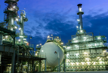 Oil Industry Refinery factory at night