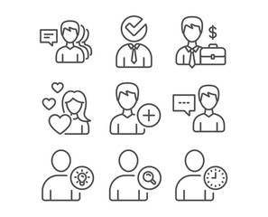Set of Love, Businessman case and Find user icons. Person talk, User idea and Add person signs. Vacancy, People and Time management symbols. Woman in love, Human resources, Communication message