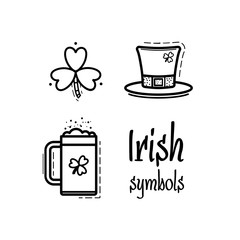 St. Patricks Day icon set design element. Traditional irish symbols in modern flat style. Isolated on white background.