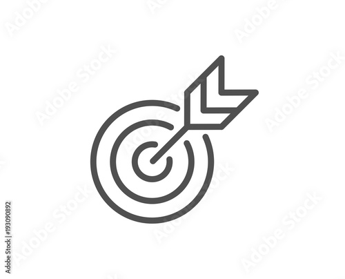 Target Line Icon Marketing Targeting Strategy Symbol Aim With