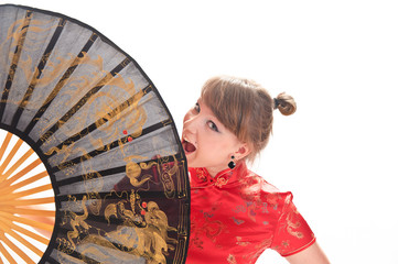 girl in red kimano in big fan