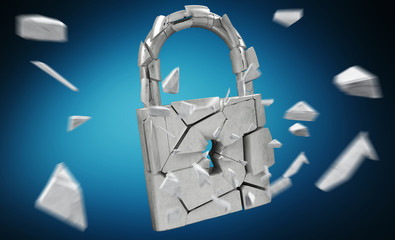 Broken padlock security 3D rendering