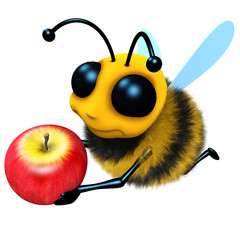 3d Funny cartoon honey bee character holding a juicy apple