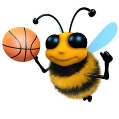 3d Funny cartoon honey bee character playing basketball