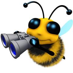 3d Funny cartoon honey bee character looking through binoculars