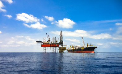 Oil and gas background picture with clear blue sky.