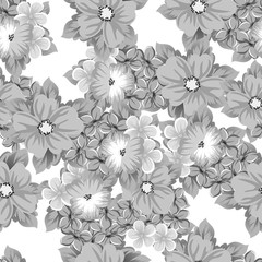 abstract seamless black and white pattern of flowers. For design of cards, invitations, greeting for birthday, Valentine's Day, wedding, party, celebration.