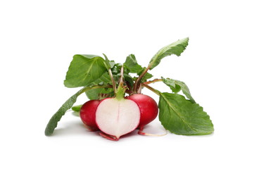 Fresh red radishes with slices with leaves isolated on white background, raphanus raphanistrum, sativus