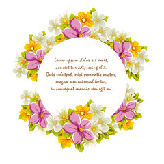 Beautiful frames for your text from the flowers. For design postcards, greeting, invitation birthday, marriage, Valentine's day, party, holiday, celebration.