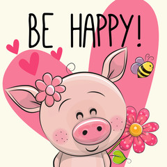 Be Happy Greeting card with Pig