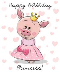 Happy Birthday Card with Princess Pig