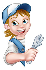Plumber Mechanic Woman Cartoon Character