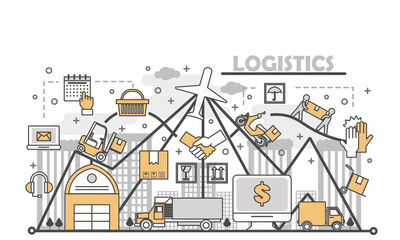 Logistic services concept vector illustration in flat linear style