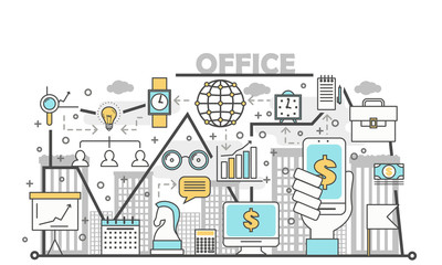 Office concept vector illustration in flat linear style