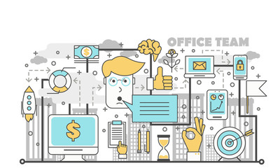 Office team concept vector illustration in flat linear style