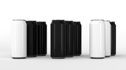 Raw of black and white soda cans