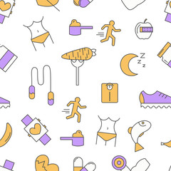Sport food seamless pattern, vector modern thin line flat design
