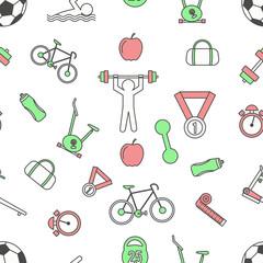 Sport seamless pattern, vector modern thin line flat design