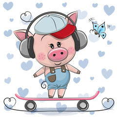 Cute Cartoon Piggy with skateboard
