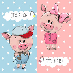 Baby Shower greeting card with Cute Pigs