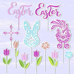 Vector set for Happy Easter Day. Bunny, Easter word, rooster, flowers as cake toppers on textured background. Easter hand drawn lettering as logo, badge, icon, patch. Design elements for Easter party.