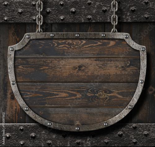 Medieval sign on wood background 3d illustration