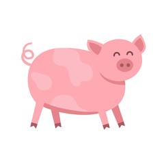 Funny pig vector flat illustration isolated on white background. Cute farm animal piggy icon cartoon character.