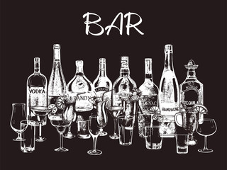 Set of hand drawn sketch style alcoholic drinks, bottles and glasses. Isolated objects. Vector illustration.