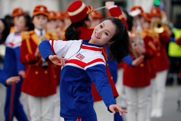 North Korean cheerleaders perform near the Medals Plaza in Pyeongchang