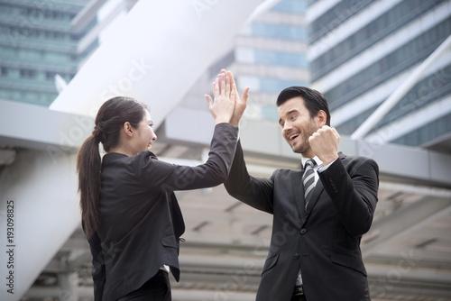 Businessman and businesswoman hands high five meeting greeting businessman and businesswoman hands high five meeting greeting m4hsunfo