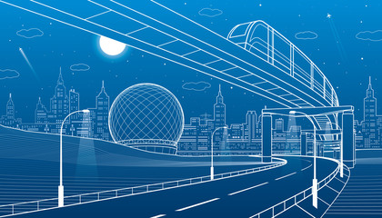 Monorail railway. Illuminated highway. Transportation urban illustration. Skyline modern city at background. Night town. White lines on blue background. Vector design art