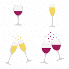 Champagne and wine glasses. Cheers. Celebration. Holiday toast.