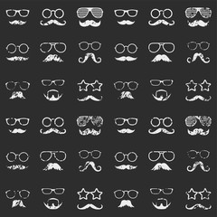 Retro seamless pattern with faces. Textured man faces with glasses and mustache. Gentleman. Detective. Vector