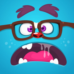 Angry Cartoon Monster Face With Eyeglasses yelling or talking. Vector Halloween monster square avatar
