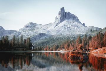 Alpine mountain moody autumn lake