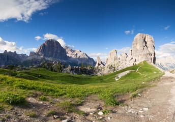 Summer mountain alpine meadow panorama. Cinque Torri, Dolomites Alps, Italy