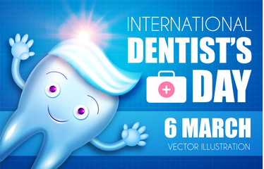 Helthy Tooth with Shining Toothpaste. Cartoon Character. Stomatology Design Template. Dental Health Concept. Oral Care.
