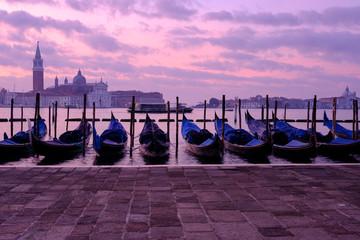 Venice gondola city view at sunrise