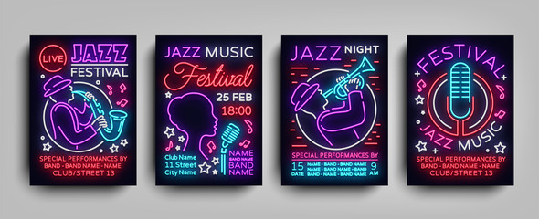 Jazz Festival posters Neon Collection. Neon sign, Neon style brochure, Design invitation template for Jazz music festival, Light Banner, Nightly advertisement of festival, party. Vector illustration
