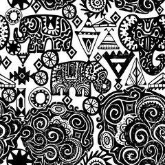 Beautiful seamless pattern Indian Elephant with ornamental. Hand drawn ethnic tribal decorated Elephant. White contour on Black background. for site, blog, fabric. Vector