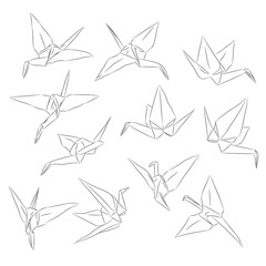 Japanese Origami paper cranes set, symbol of happiness, luck and longevity, sketch. black line contour on white background. Vector