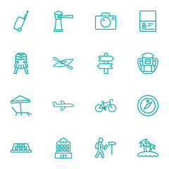 Set of 16 relax icons line style set. Collection of certificate, building, bike and other elements.