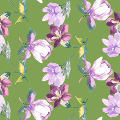 Floral seamless pattern, watercolor, hand painting