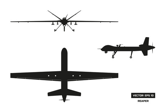 Black silhouette of military drone. Top, front and side view. Army aircraft for intelligence and attack. Industrial isolated drawing