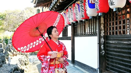 Wall Mural - Asian woman wearing japanese traditional kimono  in Kyoto, Japan.