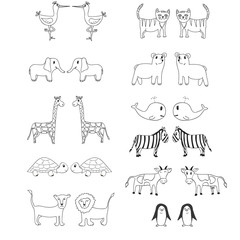 Set of cute hand drawn vector animals for coloring and other design